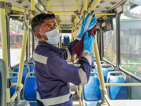 DTC buses: Disinfection process - Coronavirus outbreak: How Delhi ...