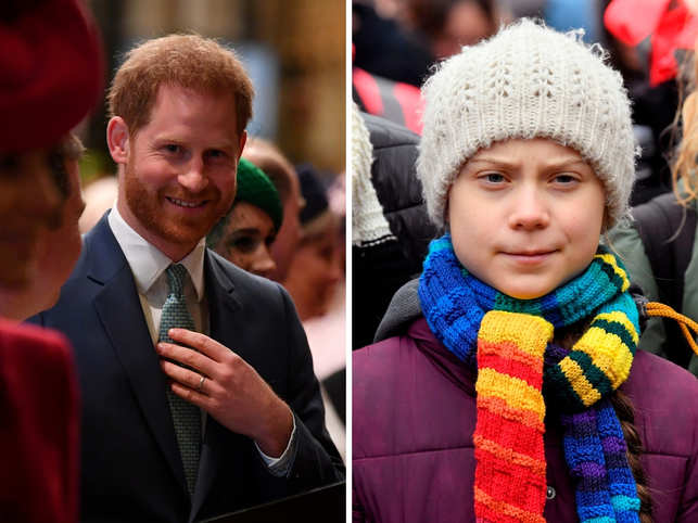 """Prince Harry (L) was the target of the hoax call by the pair, known as """"Vovan and Lexus"""" who tricked him into believing that he was speaking to Greta Thunberg (R)."""
