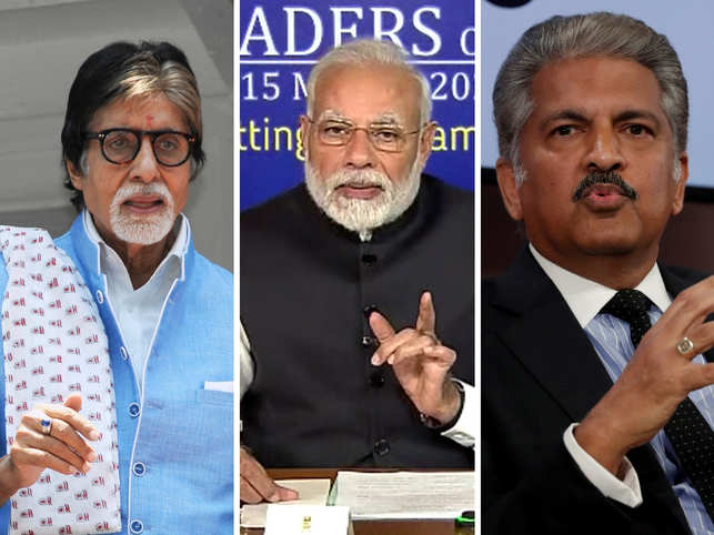 Amitabh Bachchan (L) and Anand Mahindra (R) lauded PM Modi (C) for the move.