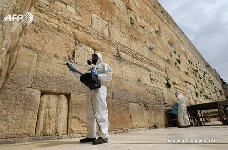 The Western Wall, the most holy site in Judaism, is sanitised against the spread of the coronavirus in Jerusalem