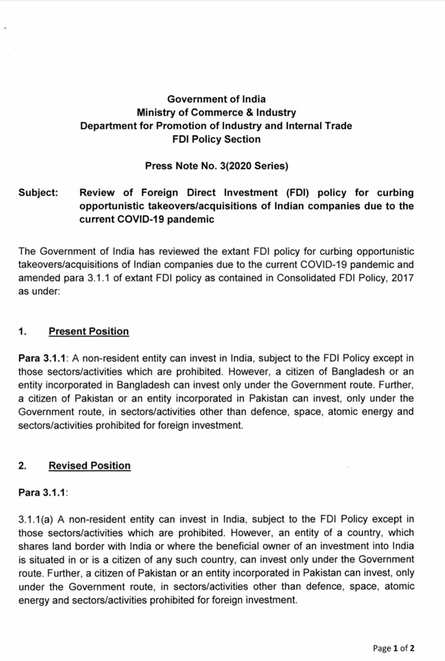 "Govt reviews FDI policy for ""curbing opportunistic takeovers/acquisitions of Indian companies due to the current COVID-19 pandemic"