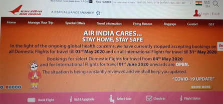 Air India opens bookings for select domestic flights May 4th 2020 onwards and International Flights June 1st, 2020 onwards