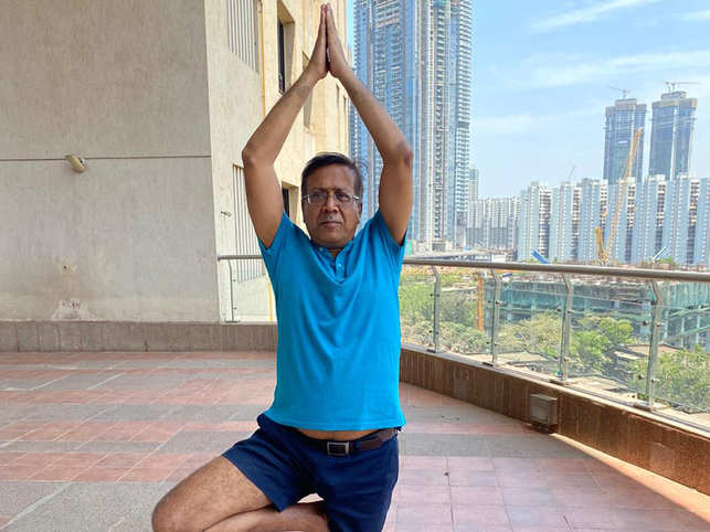 Agarwal starts his day every morning with some yoga.