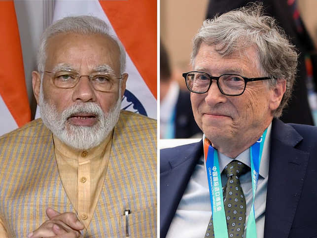Bill Gates (R) hailed the PM Modi's leadership and the government's steps in fighting COVID-19.