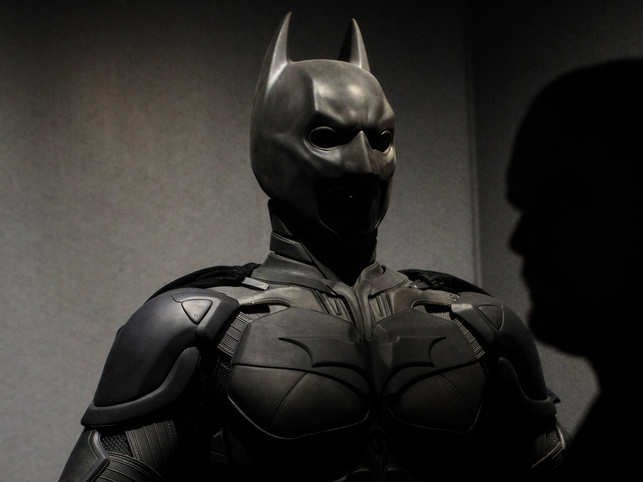 File photo: A Batman costume from the 2012 Dark Knight Rises film worn by Christian Bale and designed by Lindy Hemming is on display at the DC Comics Exhibition: Dawn Of Super Heroes at the O2 Arena on February 22, 2018 in London, England.