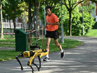Welcome to the hi-tech world: Robot dog patrols Singapore park