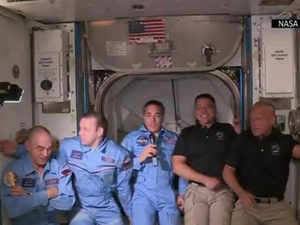 Watch: Dragon capsule crew members enter space station