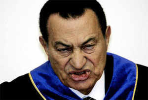 A picture taken on May 29, 2004 shows Egyptian President Hosni Mubarak addressing the audience at the Moscow State Institute of Foreign Affairs. (AFP)