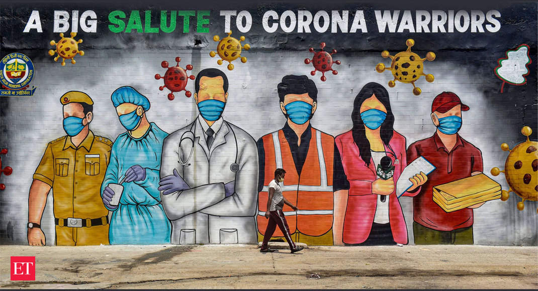 Showing Gratitude Coronavirus Pandemic Inspires The Art Of Graffiti In India The Economic Times