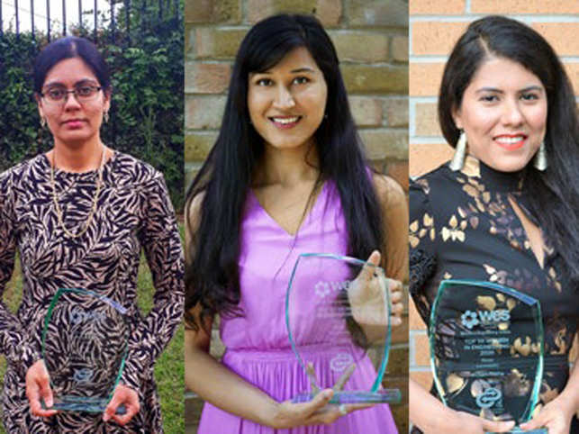(L-R) Chitra Srinivasan, Ritu Garg and Kusum Trikha​ were three of the five Indian-origin women to be names in UK's Top 50 Women in Engineering2020.