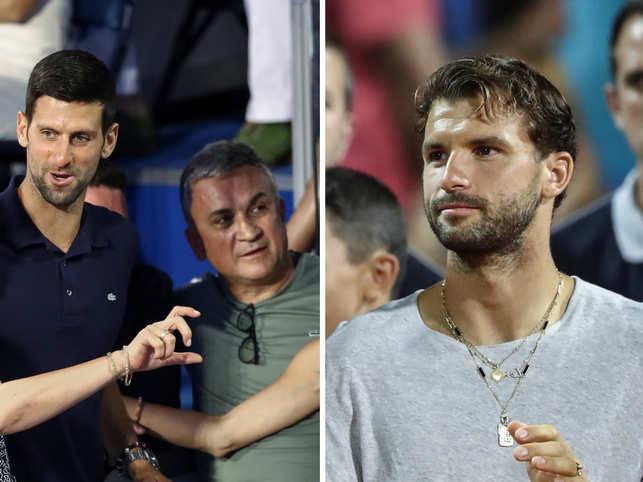 Srdjan (C), father of Novak Djokovic (L), blamed Grigor Dimitrov (R) as he was the first Adria Tour participant to test positive for the coronavirus. 