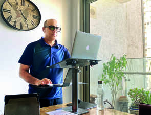 A standing desk at home helps this CEO 'think on his feet' during lockdown