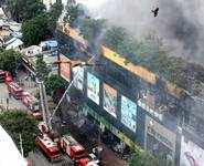 Mumbai fire brigade fights blaze