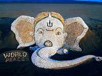 Lord Ganesha sand art with 7000 seashells has the 'World Peace' message