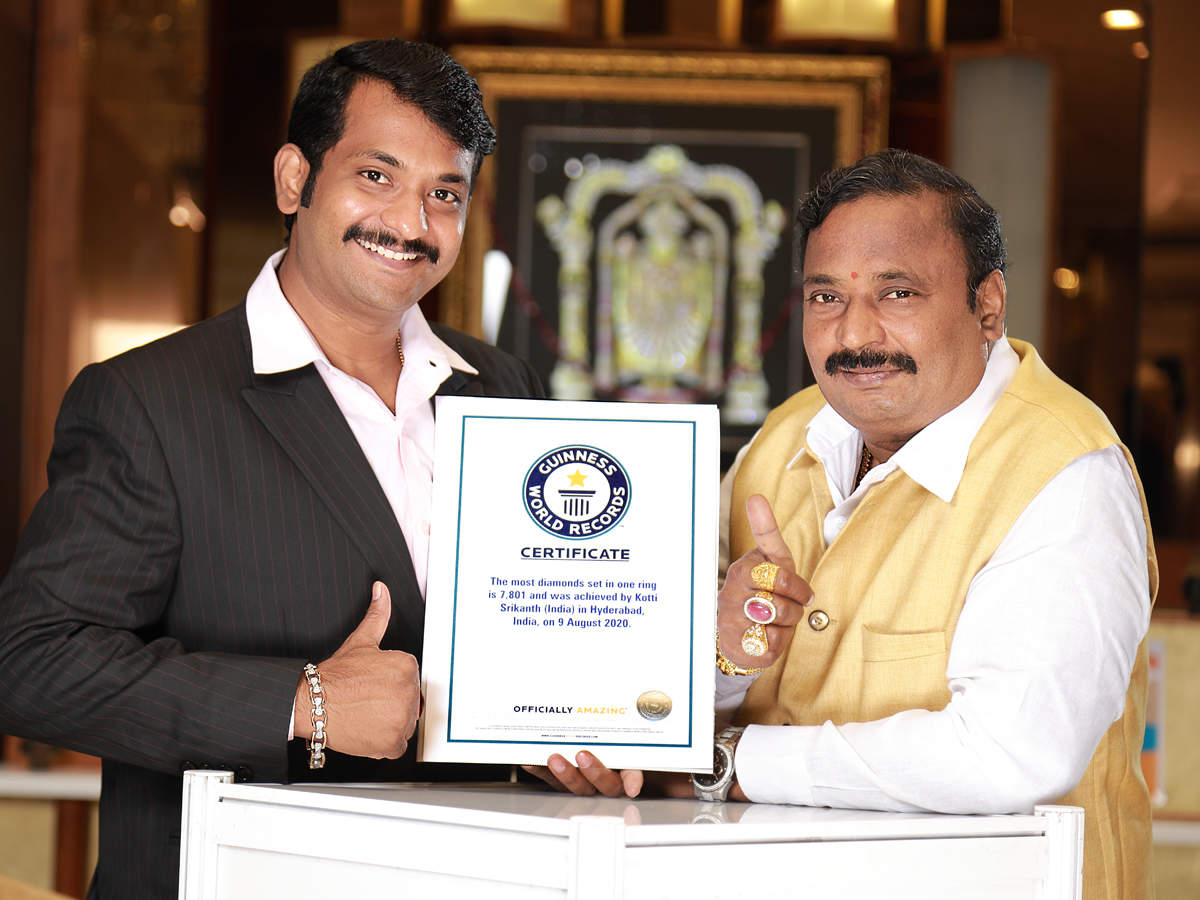 The Guinness World Records: With 7,801 diamonds in a ring, Hyderabad  jeweller sets Guinness record