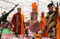 Rajnath Singh performs Shastra Puja with BSF in Bikaner