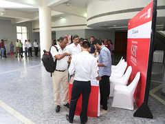 Participants at the registration desk