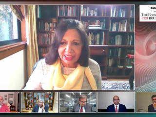 Kiran Mazumdar-Shaw & Shantanu Narayen at ET CEO Roundtable