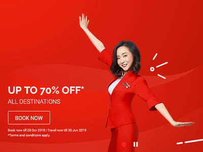 AirAsia offering 70 per cent discount on flight tickets