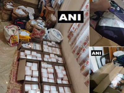 Tamil Nadu: Income Tax officials seized huge cash of money stuffed in cartons and gunny bags