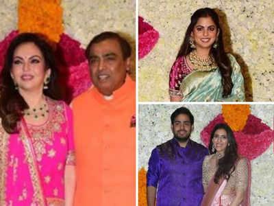 Mukesh, Nita Ambani host Diwali bash; Isha stuns in saree; Akash-Shloka in hues of blue and pink