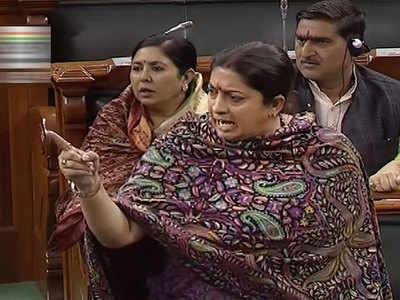 Congress-Smriti Irani encounters rock Lok Sabha