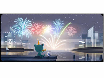 Google celebrates New Year's Eve with fireworks and a colourful doodle