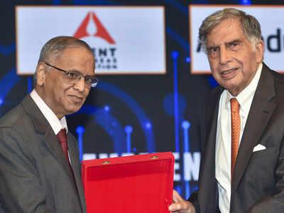 Narayana Murthy touches 'great friend' Ratan Tata's feet at TiEcon Mumbai, wins over Twitter