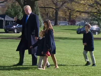 Watch: Trump returns to White House with family after holiday break