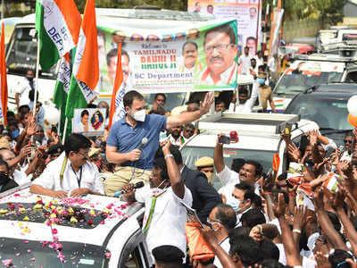 Tamil Nadu polls 2021: Rahul Gandhi holds roadshow in Uthiyur