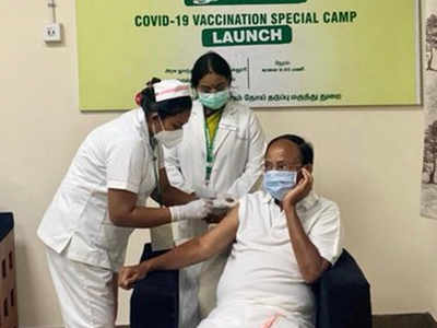 Vice President M Venkaiah Naidu takes first dose of COVID-19 vaccine in Chennai