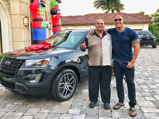 To Dad With Love Dwayne Johnson Buys His Father A Car